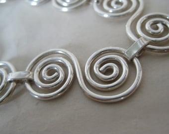 Sterling Bracelet Swirl Chain Link Silver Vintage 925
