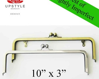 "50% Off SALE - Metal Purse Frames - BEST of Slightly Imperfect 10"" x 3"" Classic Purse Frames with or without chain loops - Set of 10"