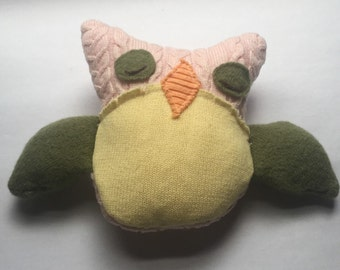 Medium Owl Stuffie from Upcycled Sweaters Spring Colors