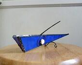 Stained Glass Incense Burner /  Holder / Brillant Cobalt Blue