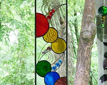 Stained Glass Panel, Colors of, the Rainbow, Abstract Circles, Suncatcher