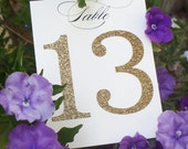 Glitter table numbers, gold glitter, wedding table numbers, glitter table cards
