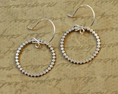 Sterling silver, hoop earrings, beaded, scalloped, texture, simple, rustic, oxidized, whimsical, round, circle, ring, light