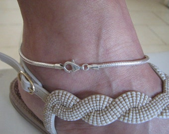 925 Sterling Silver 3mm Snake Chain Anklet, 11 inch