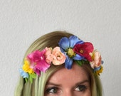 Pink Flower Crown Headband - SUMMER LOVIN' CROWN - Floral Crown - Flower Headband Adult