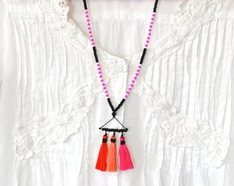 20 DOLLAR SUPER SALE! Ombre Pink Tassel Necklace - Long Beaded Necklace - Boho Necklace Bohemian Jewelry