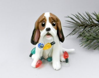 Basset Hound Tricolor Christmas Ornament Figurine Lights Porcelain