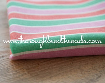 Fun and Colorful Stripe - Vintage Fabric Mod 60s 70s New Old Stock Orange Pink Green
