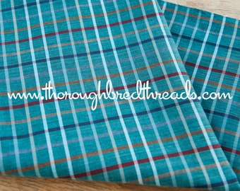 Mad About Plaid - Vintage Fabric Multi-Colored Checked Teal