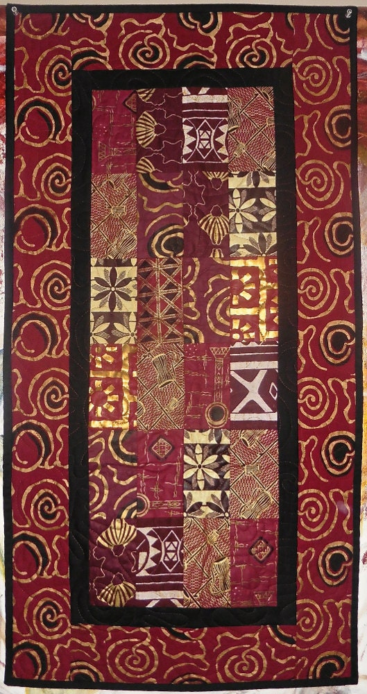 Patchwork Quilt   Burgundy And Gold West African Table Runner