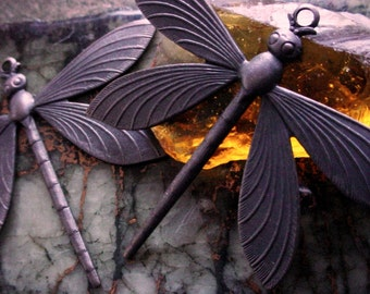 BOGO SALE 2pc Large Dragonfly Oxidized Brass Vintage Art Deco Styl Design Wing Brown Black Antique Bronze Patina Jewelry Findings 3R