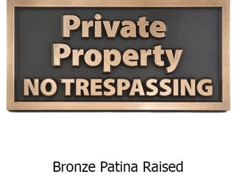 "Modern Private Property No Trespassing Sign 12"" x 6"" by Atlas Signs and Plaques"