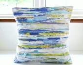 16 inch decorative pillow cover abstract art , blue green white lilac lines cushion cover