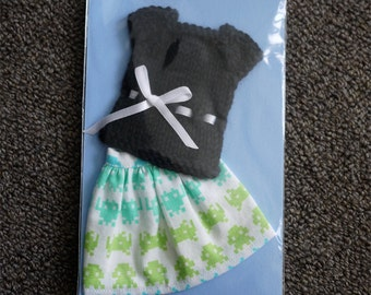 Blythe Skirt & Top Set - Space Invaders Print Skirt and Black Top