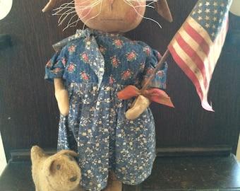 Primitive Patriotic Bunny and Puppy Friends Dolls