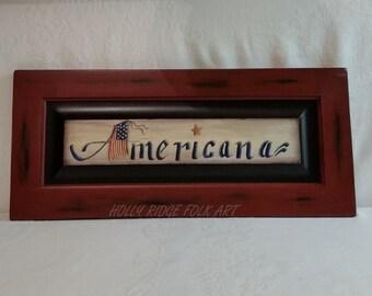 Americana Sign, Hand painted cabinet door, wood