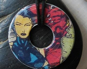 X-MEN PSYLOCKE Upcycled Washer Pendant Necklace Comic Books Marvel Apocalypse Wolverine
