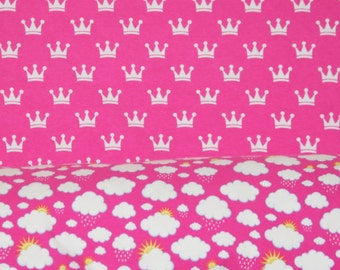 Knit Fabric duo Pink sleeping beauty crowns 1/2 yard cotton lycra knit and pink clouds 1/2