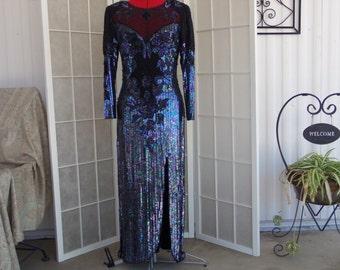 Vintage 1980's Gina G. Black with Mutli Color Sequins Evening Dress