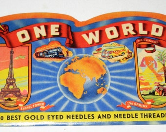 Vintage Sewing Needle Packet with Needles for Collecting or Crafting - One World Needles