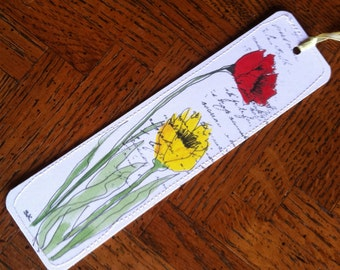 Bookmark of Watercolor Yellow and Red Poppies