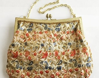 Vintage Metallic Gold Brocade Floral Fabric Evening Bag Purse Unworn with Original Store Tag Beaded Edging