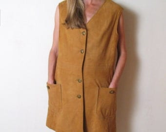 1970s Joseph Magnin CAMEL SUEDE mini dress, m - l