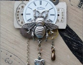 75% off ENTIRE SHOP BROOCH pin Steampunk Mechanical Silver Brass Bee Antique pocket watch parts heart industrial