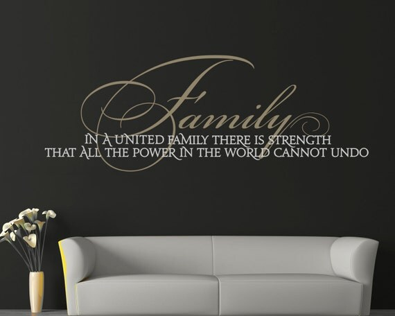 """Family Wall Decal """"Family: United in Strength"""" Family Quote Vinyl Lettering Sticker Living Room Wall Decor Family Room Wall Art Sign"""