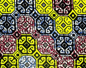 Details about  African Fabric 1/2 Yard Cotton Wax Print BLUE PURPLE YELLOW Abstract Blocks