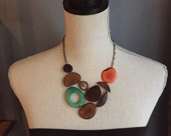 Bib necklace brown orange sea green