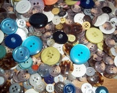 Big Bag of Buttons - 3/4 Pound Vintage Buttons - Neutral Colors and Pastels - Lots of Repeats - Plastic Buttons - Metal Buttons - Variety