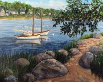 "Sailboats Harbor Ocean Cape Cod Landscape Original Acrylic Painting 11"" x14"""