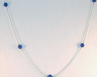 Gemstone Jewelry - Dark Blue Agate Necklace - Silver