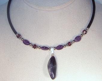 Gemstone and Swarovski Crystal Jewelry - Genuine Amethyst and Swarovski Crystal Necklace