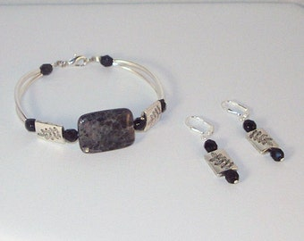 Labradorite Bracelet and Earrings Set
