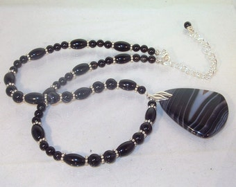 Gemstone Jewelry - Banded Black Agate and Sterling Silver Necklace