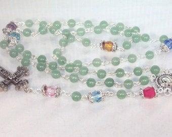 Gemstone & Swarovski Crystal Rosary -  Custom-Made - Family/Birthstone Rosary - Made To Order