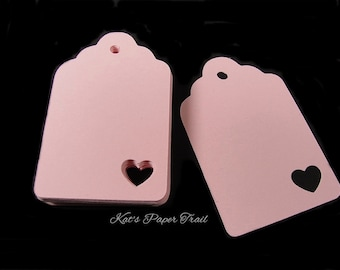 Tags with heart - Pink tags - Wedding favor tags - Place cards - Gift tags - Set of 50