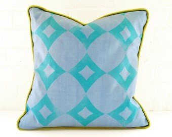 Blue Block Printed Pillow