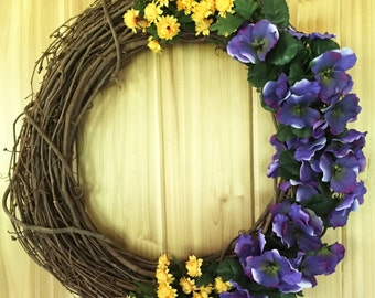 Purple Pansy Wreath - Summer Wreath - Spring Wreath - Grapevine Wreath - Door Wreath - Front Door Wreath - Pansy Wreath - Floral Door Wreath