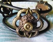 HARDWARE BANGLE BRACELET, Repurposed Antique Victorian Hardware & O Rings,Rubber Jewelry,Steampunk Jewelry,Boho Jewelry,Avant Garde Jewelry
