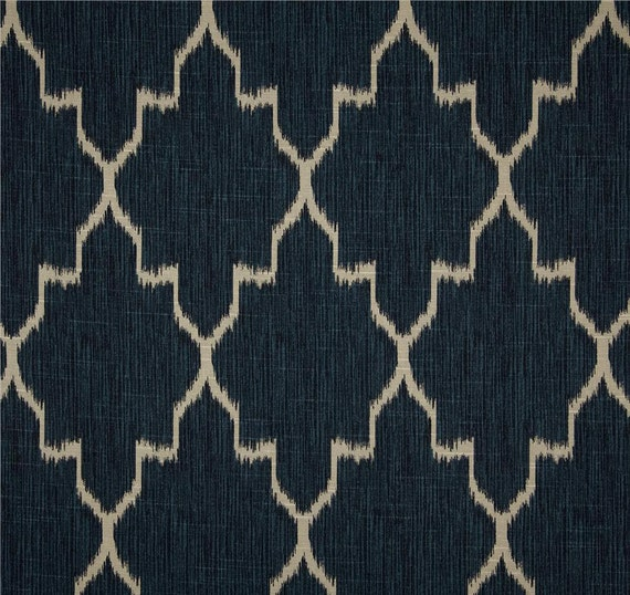 Navy Blue Ikat Window Curtains Trendy Curtains Modern Geometric