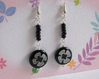 Black Glass Earrings, Flower Coin Bead Earrings, Black Seed Beads Silver Jewelry