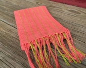 Peach Pink Cast Handwoven Scarf