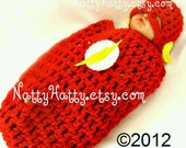 Flash comic Baby handmade crochet Set Hat and cocoon