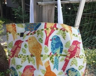 Market tote knitting beach bag REVERSIBLE large tote bird pattern Sunbrella fabric blue orange red
