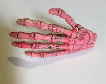 Skeleton Hand Hair Clip - Candy Glitter Pink UV reactive