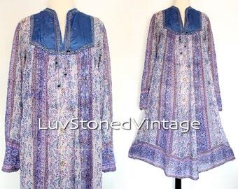 Vintage 70s Indian Tent Tunic Boho Hippie Cotton Gauze Gypsy India Festival Midi Dress | SML | 997.6.13.15
