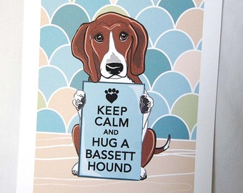 Keep Calm Basset Hound with Scaled Background - 7x9 Eco-friendly Print